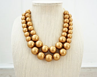 Big Gold Bead Necklace