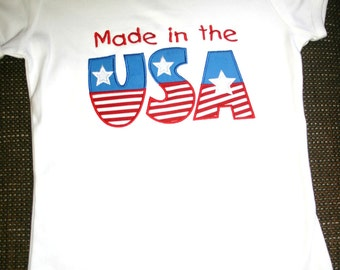 Custom Boutique 4th of July Made in the USA Appliqued Tshirt or Tank Top
