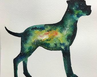 Boxer Nebula Original Watercolor