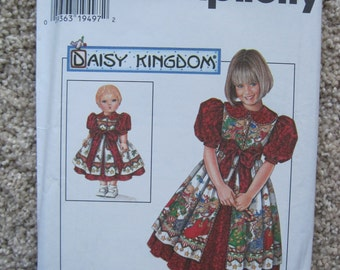 """UNCUT Girls Dress and Pinafore and Doll Dress for 17"""" Doll - Simplicity Sewing Pattern 7349"""