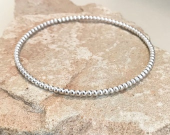 Sterling silver bead bangle bracelet, bangle bracelet, stackable sterling silver bracelet, sterling silver bangle gift for her gift for wife