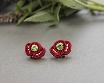 Red green studs. Dark red earrings, Rhinestone earrings studs. Red post earrings Small earrings Soutache earrings, inspirational imagination