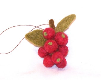 Miniature Christmas Ornament - Felted Fruit Ornament - Cranberry Ornament - Needle Felted Mini Fruit - Cranberries - Christmas Gift