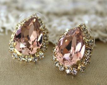 Blush earrings, Bridal Blush Earrings, Rose Gold Blush Earrings,Bridal Blush Studs,Bridal Earrings,Bridesmaids Studs Earrings,Peach Earrings