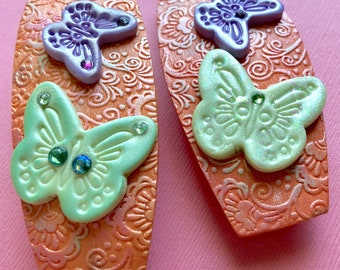 Mommy and me barrettes, french barrettes, butterfly barrettes