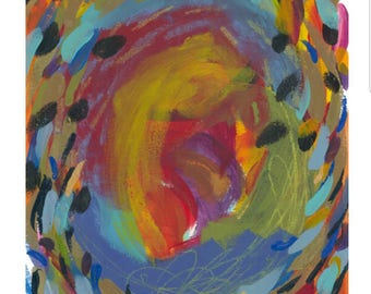 "Small Abstract Painting on Paper: ""Summer Carnival I"""
