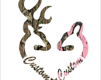Browning style love heart shaped custom printed camo and pink camo with names added