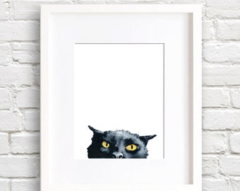 Angry Black Cat - Art Print - Wall Decor - Watercolor Painting