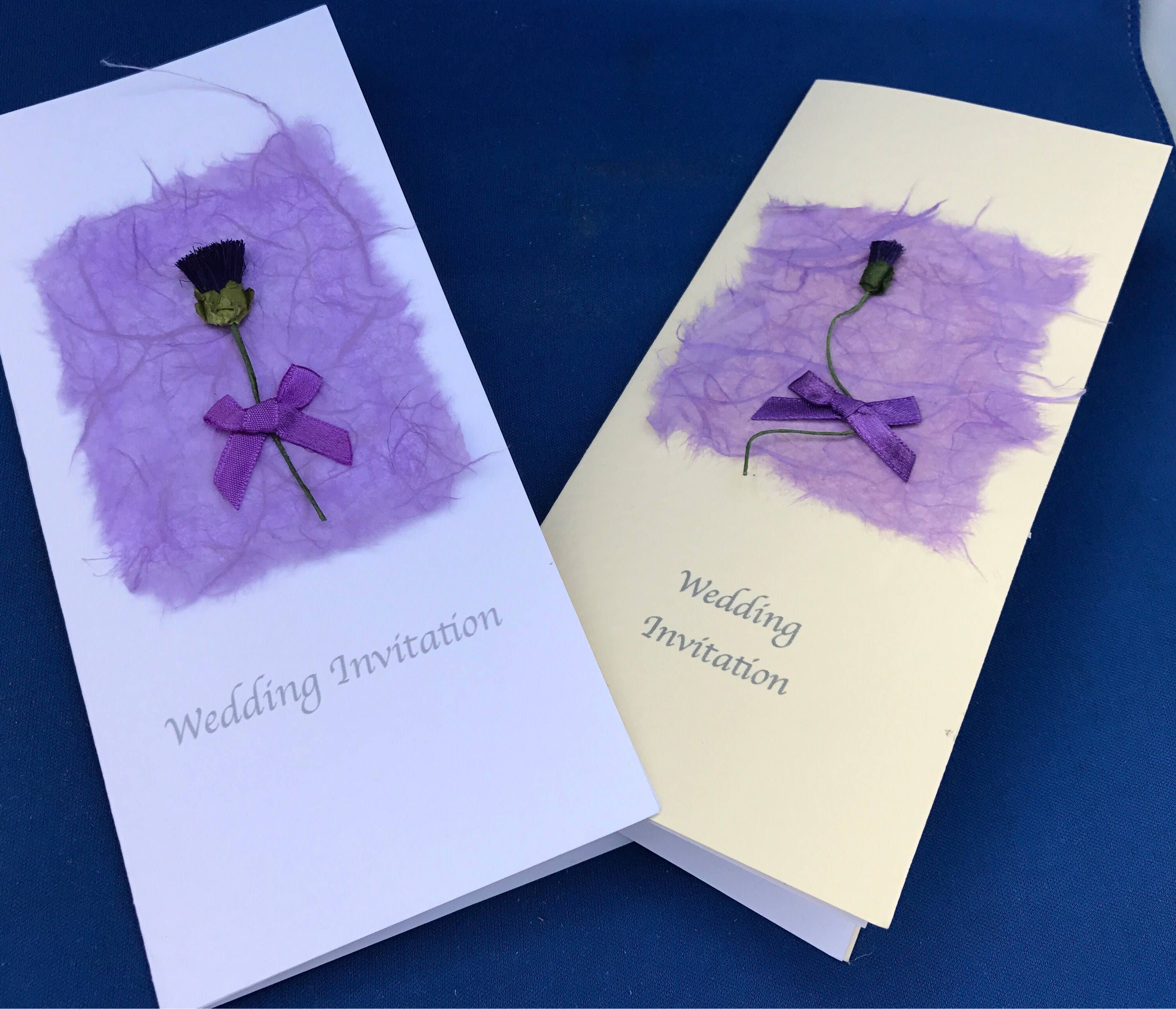Scottish Wedding Stationery Thistle Mullberry paper Handcrafted