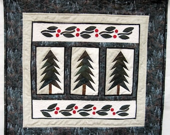 Quilted winter wall art majestic fir pine trees wall hanging Green white Quiltsy handmade