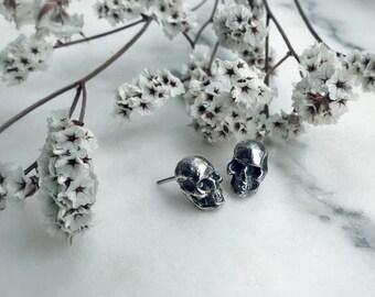 Skull Stud Earrings, Oxidized Silver