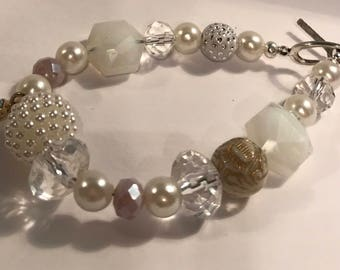 Boho White Glass Stone and Shell Toggle Bracelet Nature Love Gift for Her