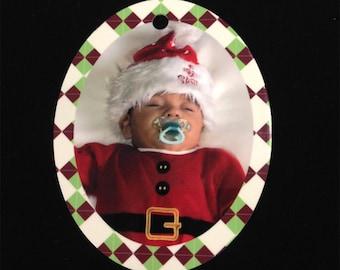 Custom Oval Photo Christmas Ornament: 2-Sided