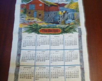 Vintage 1977 Calender Dish Towel With Thte Old Mill, 1977 Old Mill Calender Wall Hanging  (T)