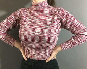 60s 70s Digital Rose - 1960s 1970s Vintage Long Sleeve Top - Red Pink White Abstract Pattern Sweater Top - Fitted Turtleneck w Back Zipper