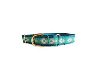 Teal Martingale Dog Collar, Teal Tribal Print, ALL SALES FINAL, Style being discontinued