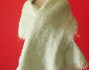 Vintage 60's Pastel Mint Green Mohair and Wool Knit Wide Fringe Shawl Wrap by Hilltop Brand, made in Scotland