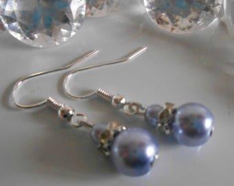 Wedding earrings rhinestone and lavender beads