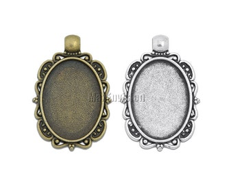 18x25mm Oval Pendant Tray Pendant Blank Bases Cameo Cabochon Base Setting fit 18x25mm Oval Cabochons 20 M216