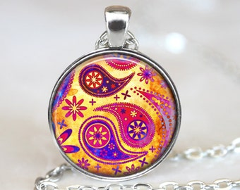 Paisley Art Pendant, Abstract Art Pendant, Pink Paisley Art Necklace, Abstract Art Jewelry, Paisley Glass Pendant, Bronze, Silver, 1277