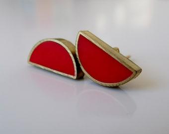 poppy red brass half moon stud earrings