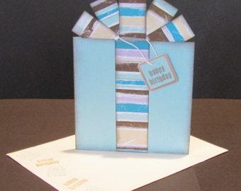 Birthday Present Card - Gift Card / Money Holder - Blue