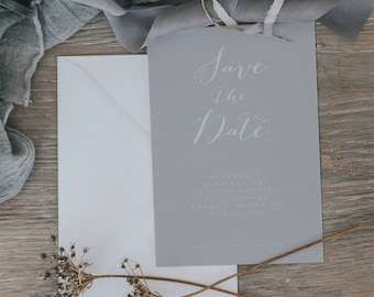 Beautiful Calligraphy Save the Date Cards. Simple and Elegant Save the Date Cards. Printed Save the Date Cards with Envelopes.