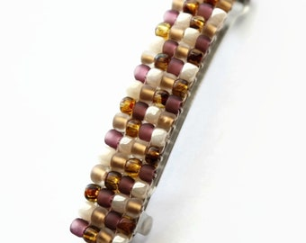 Multi Color French Barrette, For Long Hair, Brown, Purple, Off White, Gold Color