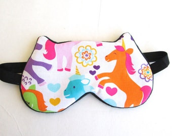 Unicorn Eye mask, Sleep mask, Kitty eye mask, Cat eye mask, Kitty sleep mask- Polka dots.