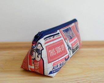 Retro Pencil Case, Air Mail Zipper Pouch, Back to School Supplies, Pencil Zipper Pouch, Cosmetic Bag, Retro Zipper Pouch, Red Pencil Case