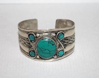 Turquoise Bracelet, Boho bracelet, Silver Bracelet, Tribal Bracelet, Gypsy bracelet, Turquoise jewelry, Navajo Bracelet, Tibetan bracelet