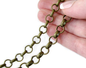 Antique Bronze Rolo Chain / Brass Ox Rollo Cross Chain - 7mm x 2mm [SOLD PER 3 FEET] -- 44223