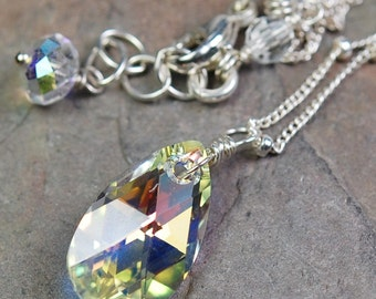Bridal Necklace, AB Clear Crystal Swarovski Teardrop Faceted Solitaire Drop, Sterling Silver Wire Wrapped, Adjustable