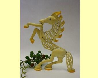 Vintage Yellow Horse Metal Earring Tree, 1970's