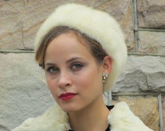1950s 1960s Winter Goddess White Blonde Mink Hat - Bonwit Teller