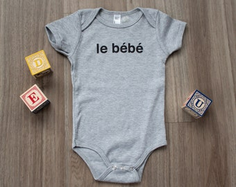 Le Bebe French Baby Bodysuit, French Baby, Hipster French, Short Sleeve Baby Bodysuit, Hipster Baby, Gender Neutral, Baby Graphic Tee, Bebe