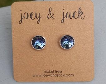 Little black iridescent mermaid scale stud earrings! Stainless steel, nickel free! Handmade! 8mm round