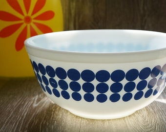 Vintage Pyrex 403 Blue Dot New Dots Mixing Bowl 2 1/2 Quart
