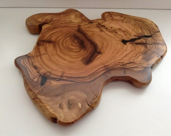 Hand Crafted....Fabulous Piece... of Cyprus Olive Wood.....With Fantastic Markings.........Bread or Cheese Board....Serving Platter.....