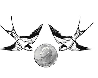 Temporary Tattoo -  Set of 2 Swallows - Various Patterns / Tattoo Flash