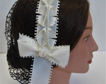 Civil War Hairnet - Vintage Taffeta Ribbon - Affordable Elegance, Choose Your Net
