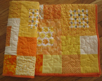 Handmade yellow and orange baby quilt, Playing tag crib quilt