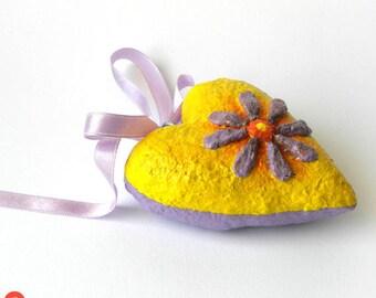 Hanging Heart Decor, Paper Mache Heart, Yellow Heart Sculpture, Heart Art Object, Paper Mache Heart, Wedding Gift, Anniversary Heart