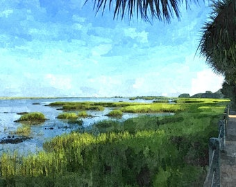 Fine Art Print of Jekyll Island, Georgia in Watercolor Rendering