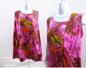 Vintage 60s Dress Size M Mod Shift Pink Olive Green Floral Smock Tunic Bakelite
