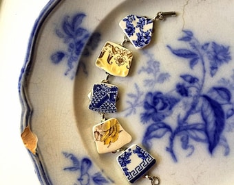 Broken china jewelry - broken china bracelet - made from antique broken china plates ecofriendly - flow blue, yellow, Dishfunctional Designs