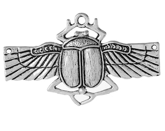 1pc Antique Silver Scarab Beetle Pendant - 63x39mm - Egyptian, Jewelry Finding, Jewelry Making Supplies, Necklace, Ships from the USA - N29