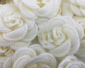 """3pcs 7.5cm 2.95"""" wide ivory flower embroidered clothes dress appliques patches C32R225K0806N free ship"""