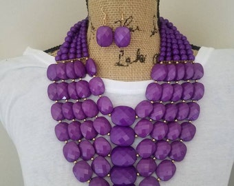 Purple Passion Necklace Set Gifts for Her Statement Necklace Chunky Necklace Collar Necklace Bib Necklace Set Small Earrings Purple Jewelry