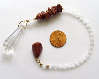 Dowsing pendulum, crystal pendulum, goldstone pendulum, Swarovski crystal point pendulum with goldstone chips, pendulum necklace